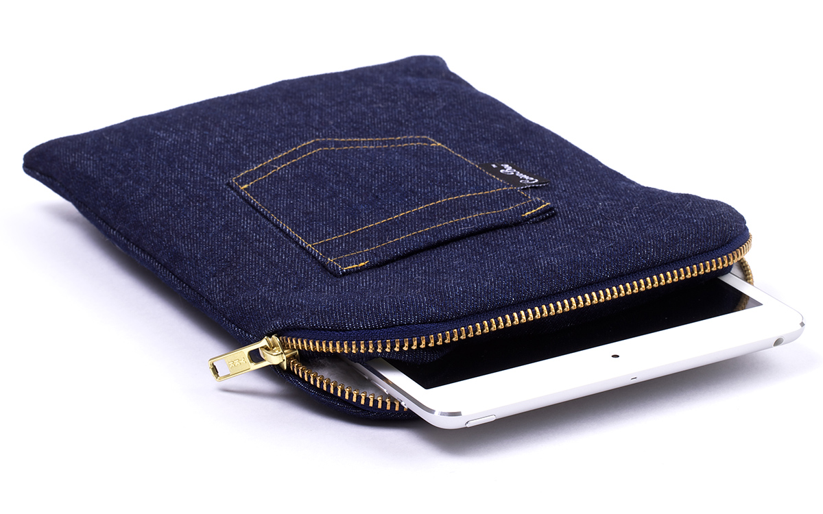 Housse bleue denim ipad mini bleu for Housse i pad mini